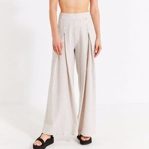 UO Lou Lace-Up Striped Wide Leg Pant